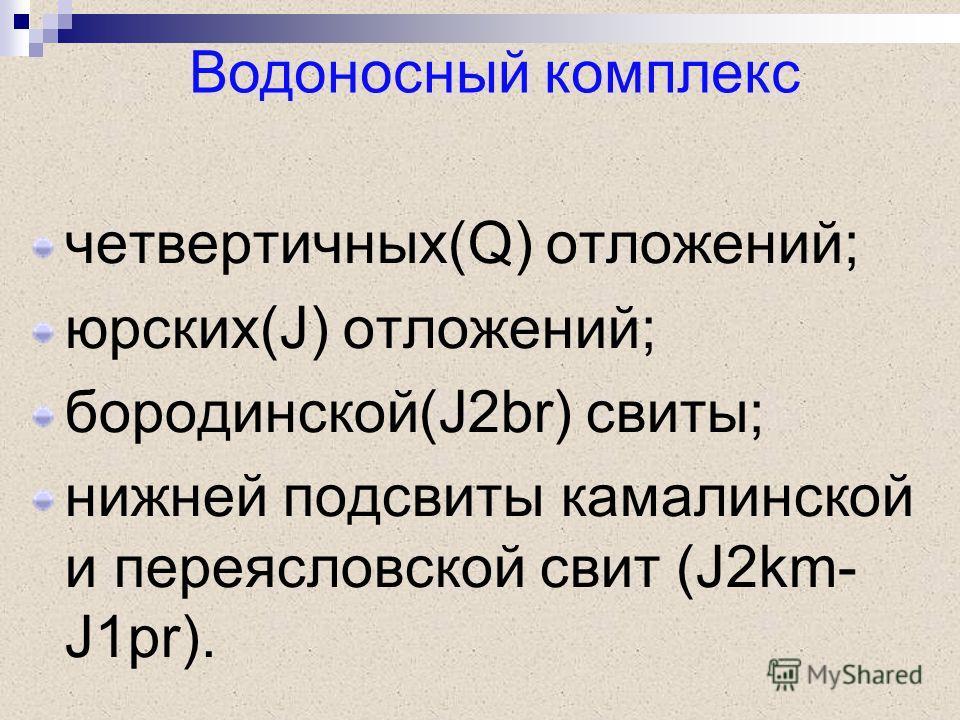 четвертичных(Q) отложений; юрских(J) отложений; бородинской(J2br) свиты; нижней подсвиты камалинской и переясловской свит (J2km- J1pr). Водоносный комплекс