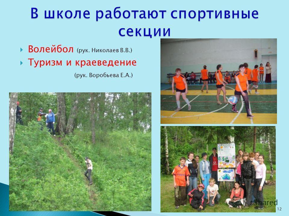 Волейбол (рук. Николаев В.В.) Туризм и краеведение (рук. Воробьева Е.А.) 12