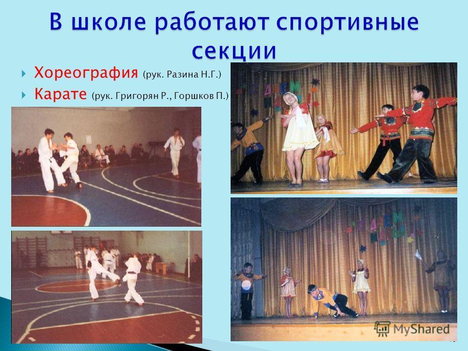 Хореография (рук. Разина Н.Г.) Карате (рук. Григорян Р., Горшков П.) 13