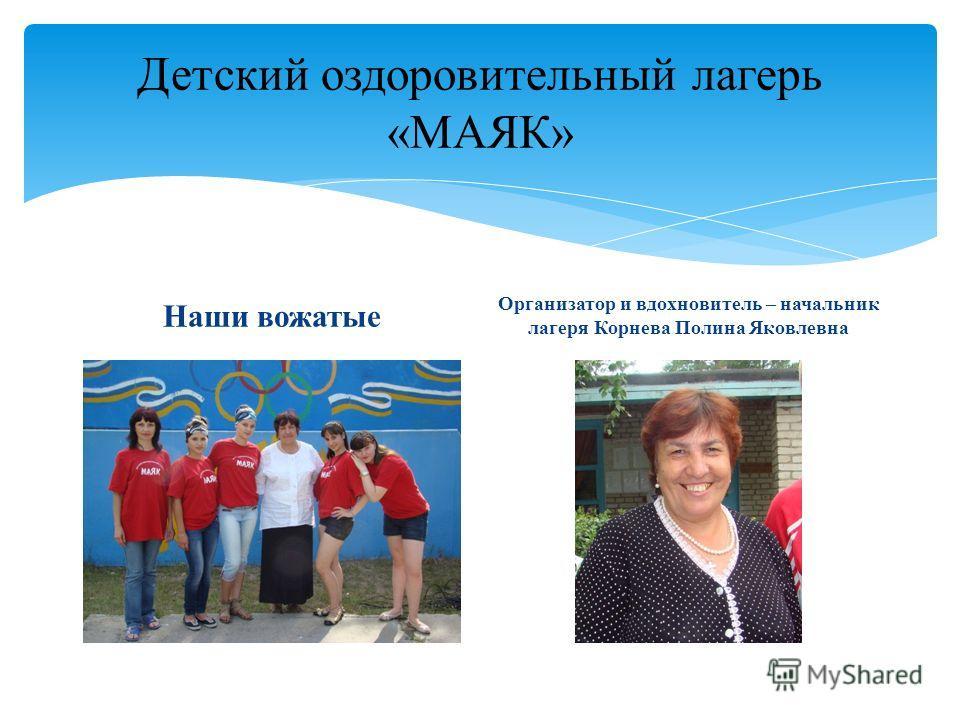 Детский оздоровительный лагерь «МАЯК» Наши вожатые Организатор и вдохновитель – начальник лагеря Корнева Полина Яковлевна