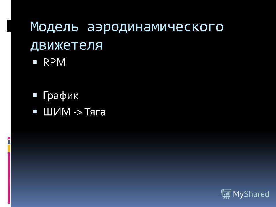 Модель аэродинамического движетеля RPM График ШИМ -> Тяга