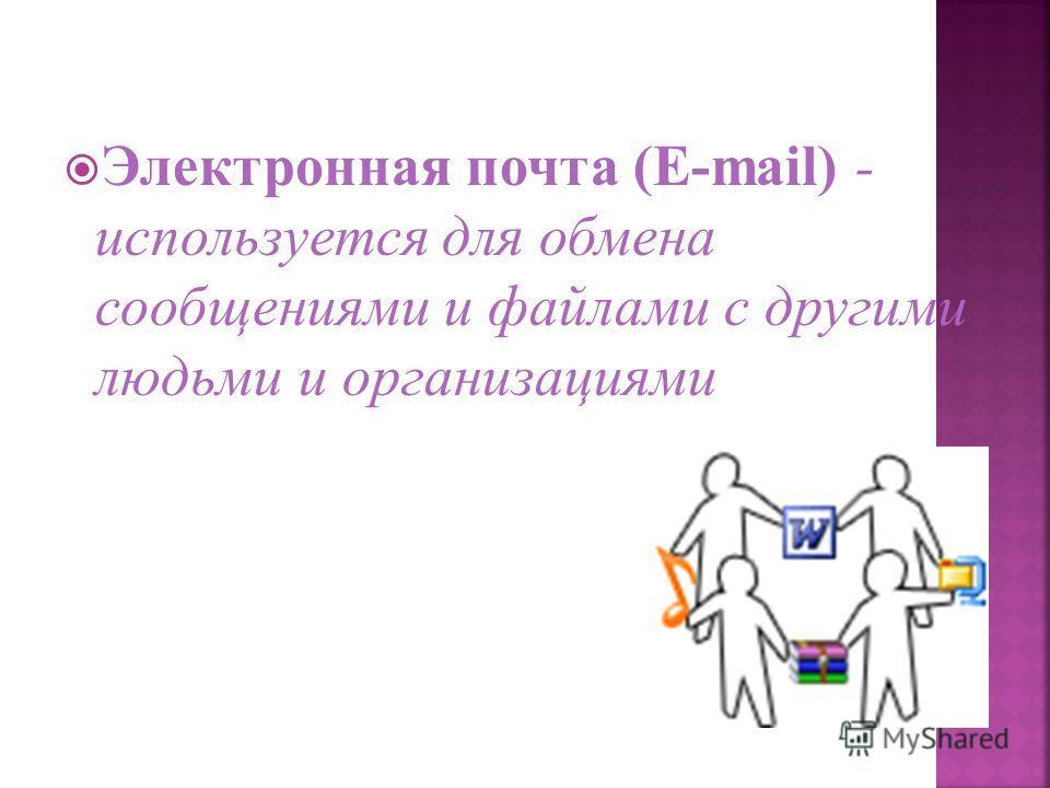 Электронная почта (E-mail) - используется для обмена сообщениями и файлами с другими людьми и организациями