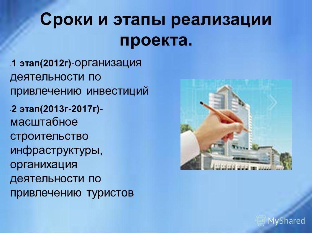 Сроки и этапы реализации проекта. 1 этап(2012г)- организация деятельности по привлечению инвестиций 2 этап(2013г-2017г)- масштабное строительство инфраструктуры, органихация деятельности по привлечению туристов