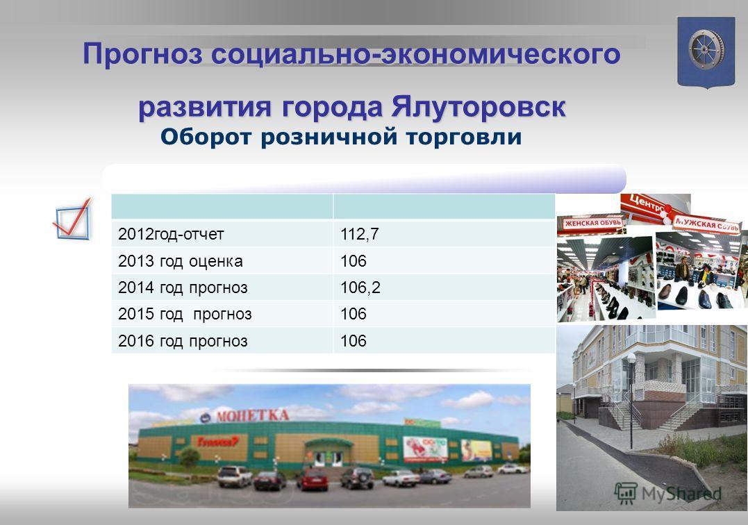 Ввод жилых домов Прогноз социально-экономического развития города Ялуторовска В 2013 году, по оценке, будет введено 22,6 тыс. кв. м общей площади жилых домов 2012 год отчет 116,9 2013 год оценка 96,2 2014 год прогноз 115 2015 год прогноз 136,2 2016 г