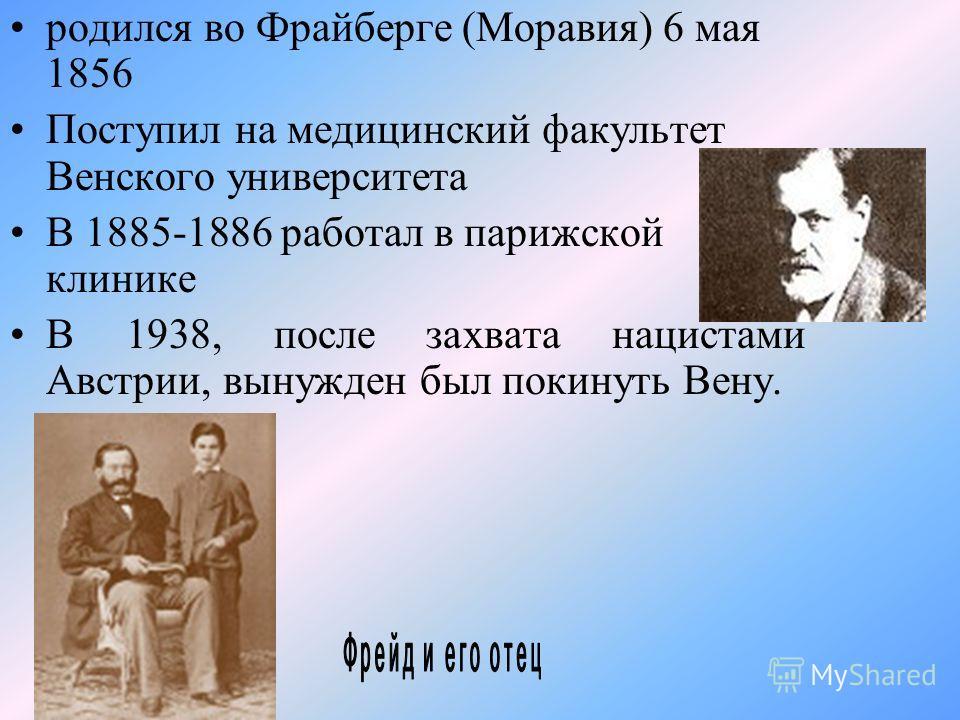 родился во Фрайберге (Моравия) 6 мая 1856 Поступил на медицинский факультет Венского университета В 1885-1886 работал в парижской клинике В 1938, после захвата нацистами Австрии, вынужден был покинуть Вену.