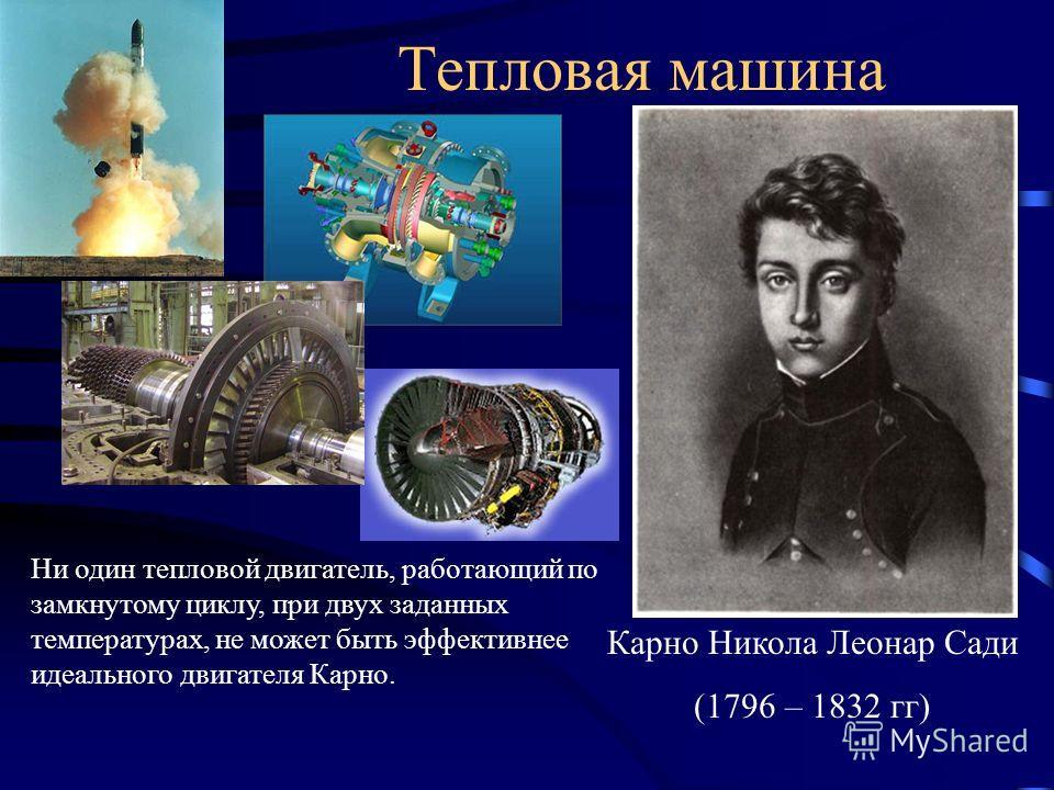 Тепловая машина Карно Никола Леонар Сади (1796 – 1832 гг) Ни один тепловой двигатель, работающий по замкнутому циклу, при двух заданных температурах, не может быть эффективнее идеального двигателя Карно.