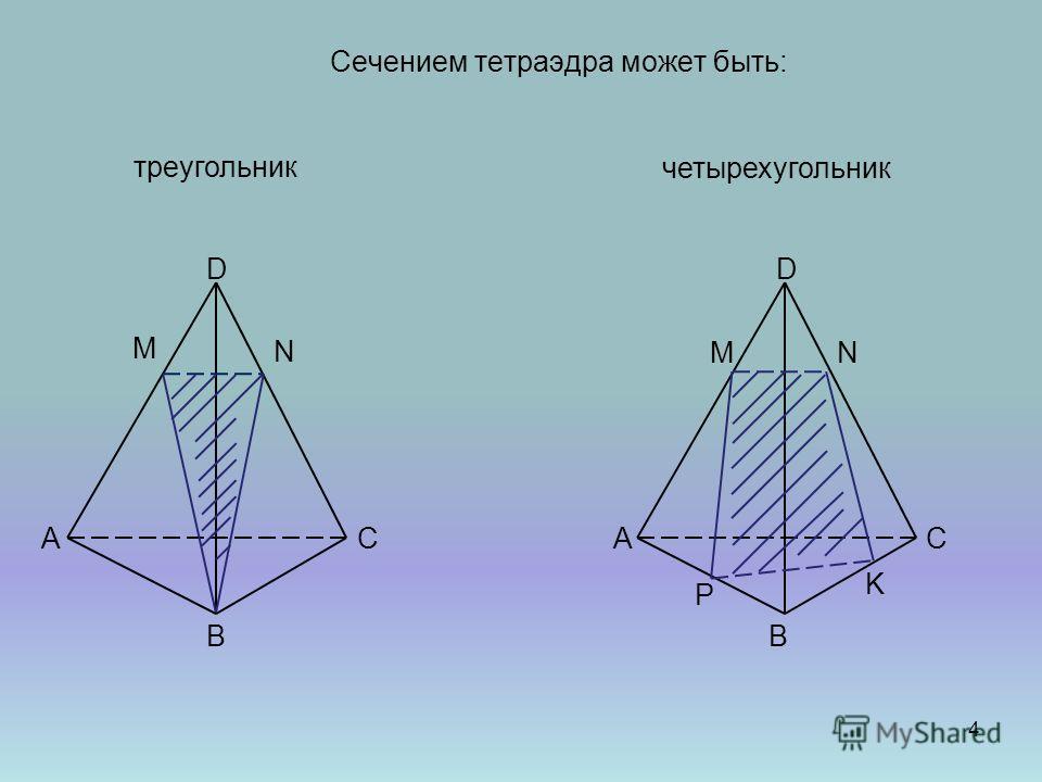Сечением тетраэдра может быть: СА В D А В С D треугольник М N четырехугольник MN K P 4
