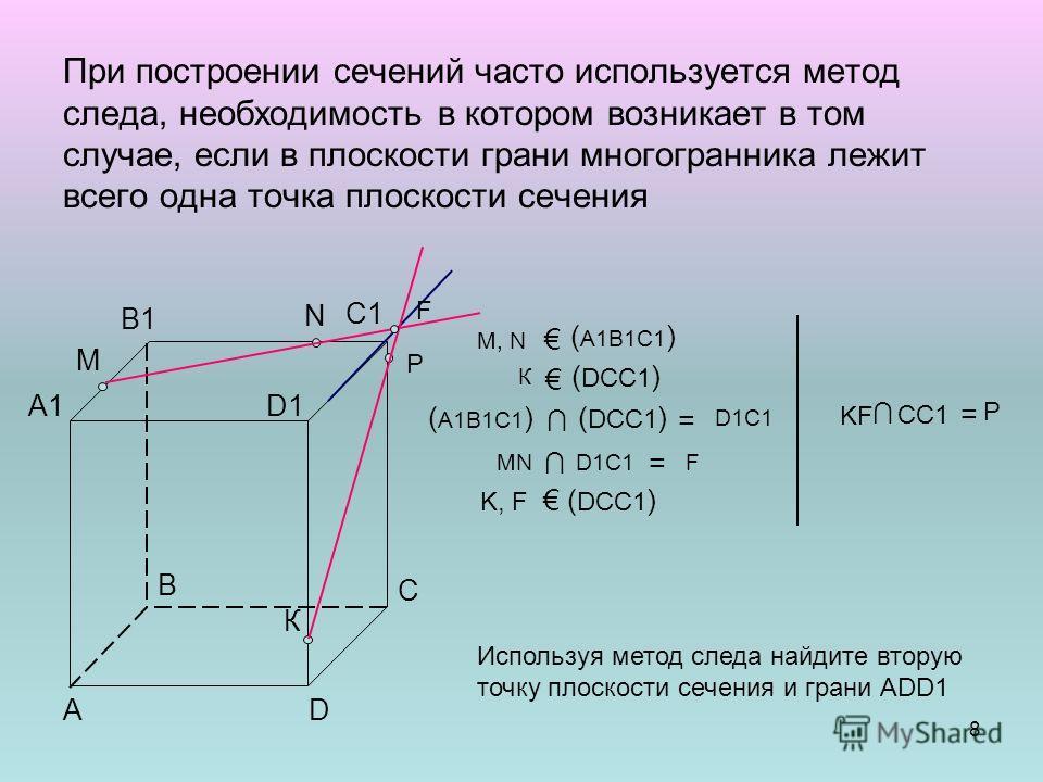 При построении сечений часто используется метод следа, необходимость в котором возникает в том случае, если в плоскости грани многогранника лежит всего одна точка плоскости сечения В В1 А А1 С С1 D D1D1 K, F ( DCC1 ) ( А1В1С1 )( DCC1 ) = D1C1 N М М,