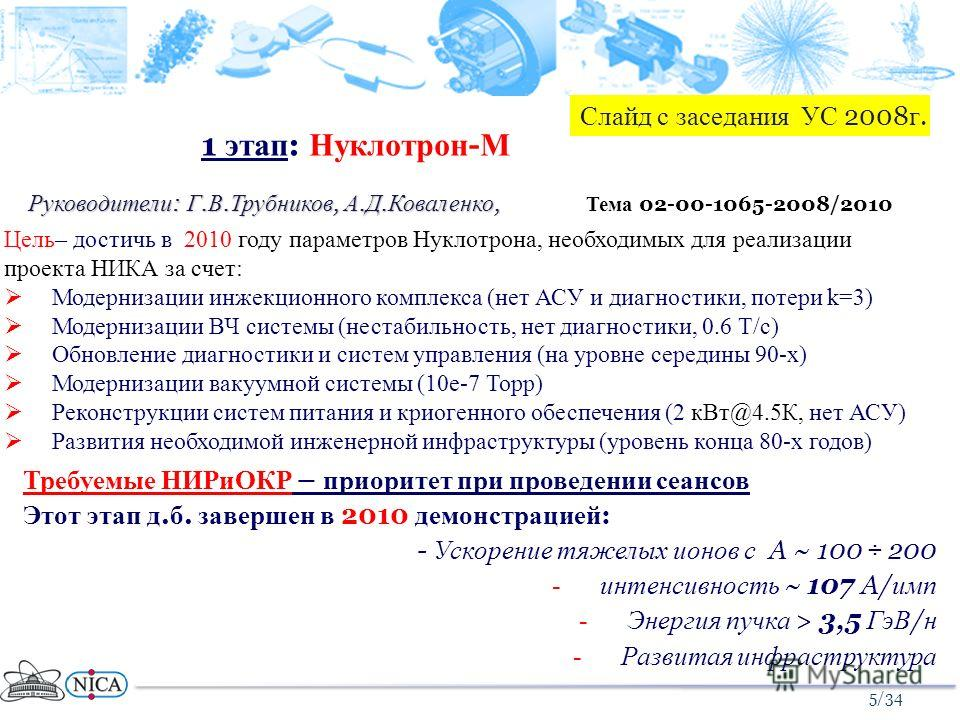 1 этап : Нуклотрон - М Руководители : Г. В. Трубников, А. Д. Коваленко, Требуемые НИРиОКР – приоритет при проведении сеансов Этот этап д. б. завершен в 2010 демонстрацией : - Ускорение тяжелых ионов с A ~ 100 ÷ 200 -интенсивность ~ 107 A/ имп -Энерги