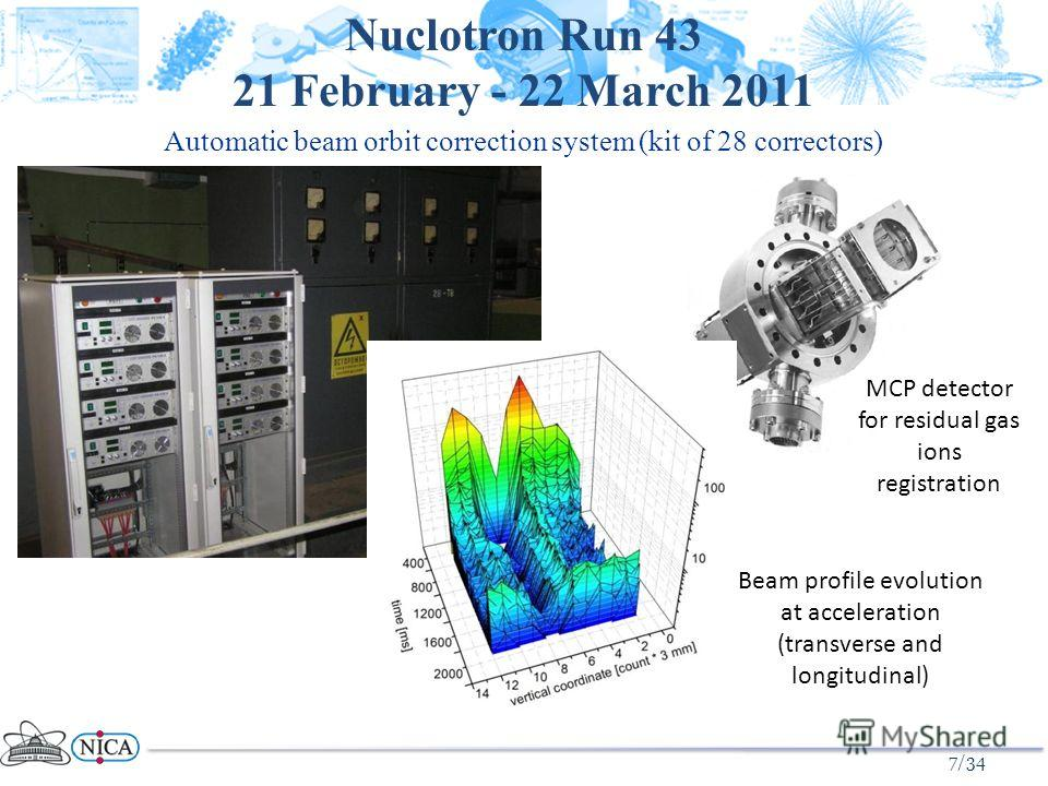 7/34 Automatic beam orbit correction system (kit of 28 correctors) Nuclotron Run 43 21 February - 22 March 2011 MCP detector for residual gas ions registration Beam profile evolution at acceleration (transverse and longitudinal)