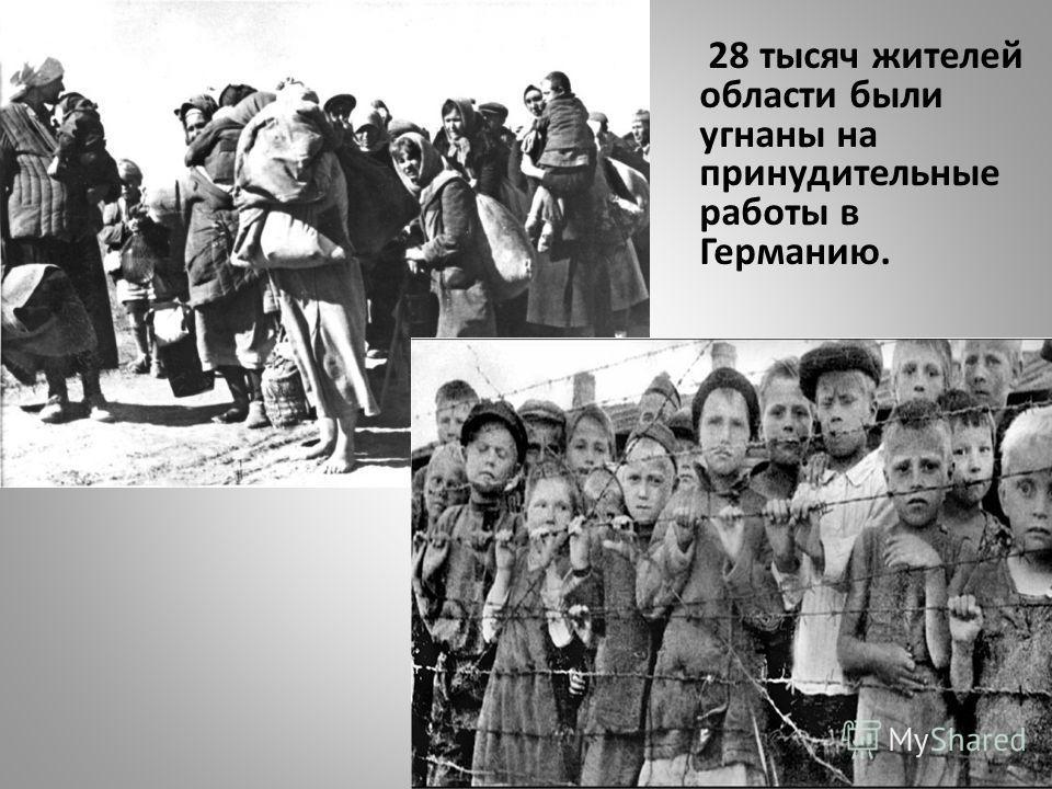 28 тысяч жителей области были угнаны на принудительные работы в Германию.