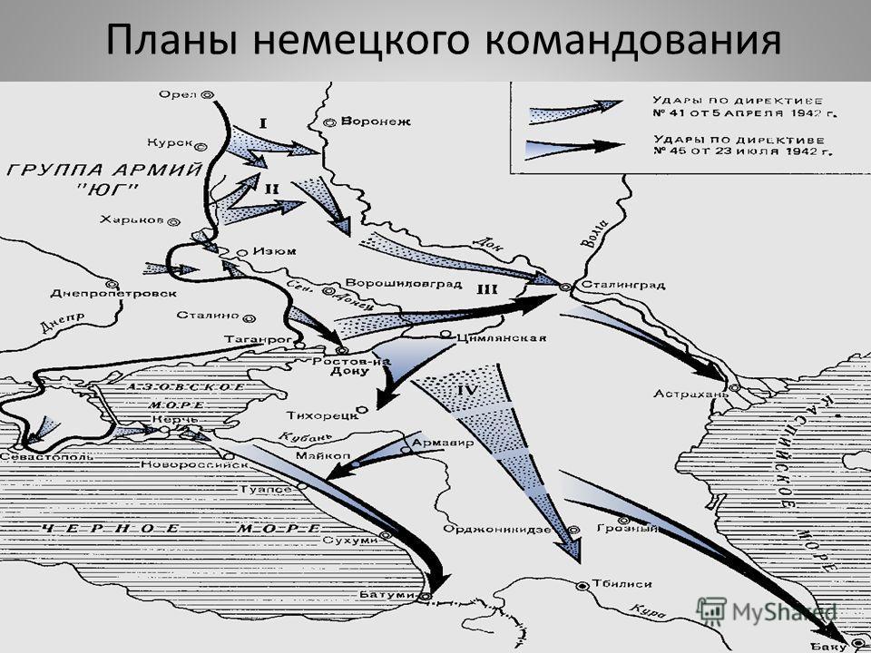 Планы немецкого командования