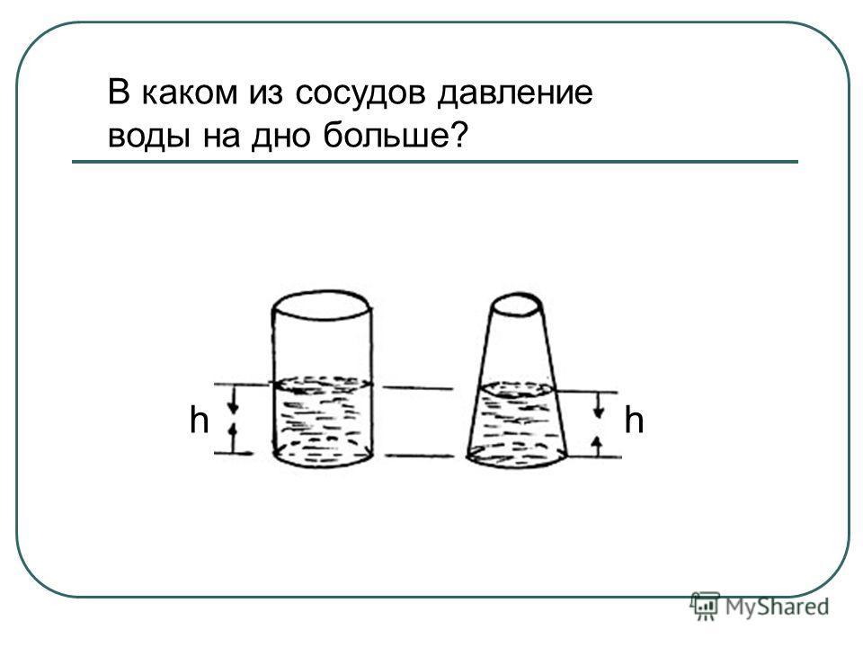 В каком из сосудов давление воды на дно больше? hh