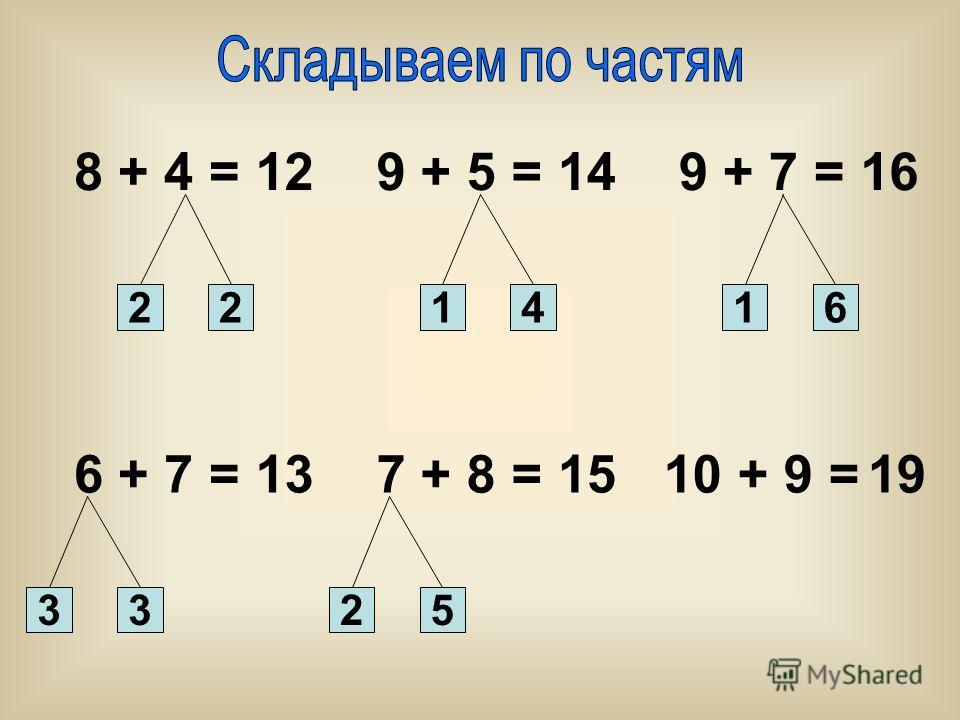 8 + 4 = 21241 9 + 5 =9 + 7 = 6 + 7 =7 + 8 =10 + 9 = 6 2533 121416 131519