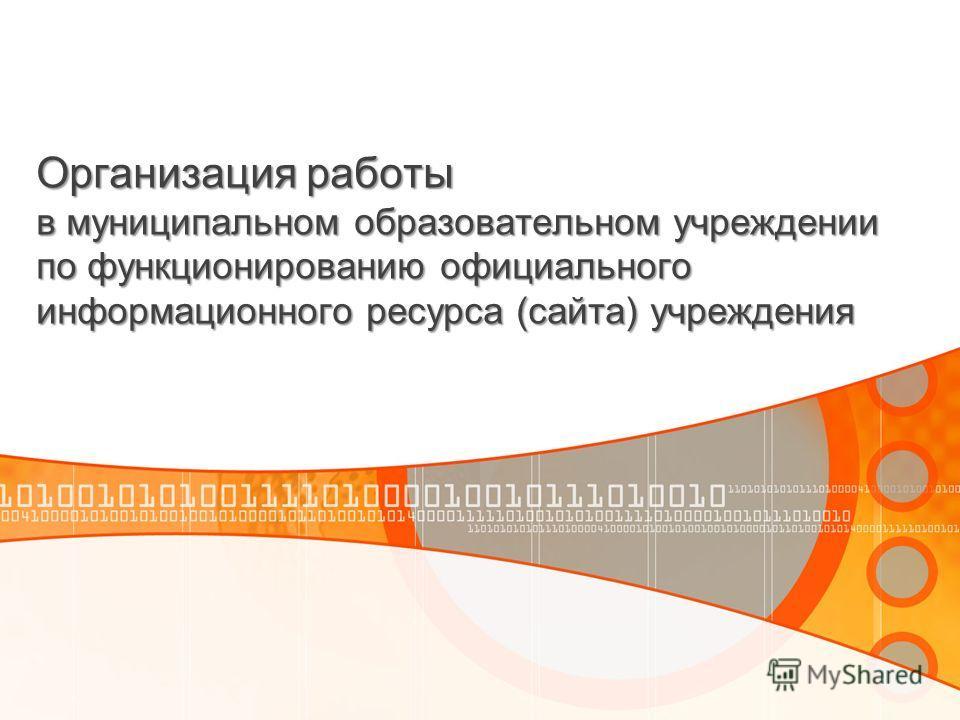 Организация работы в муниципальном образовательном учреждении по функционированию официального информационного ресурса (сайта) учреждения
