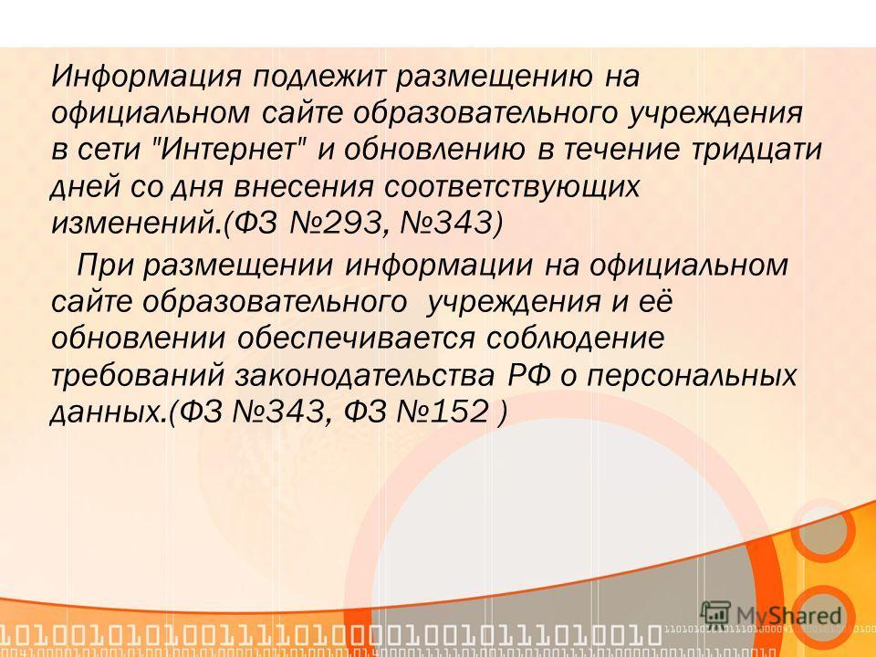 Информация подлежит размещению на официальном сайте образовательного учреждения в сети