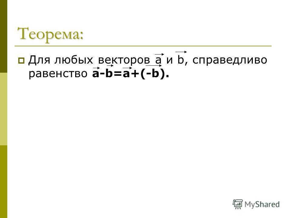 Теорема: Для любых векторов а и b, справедливо равенство а-b=а+(-b).