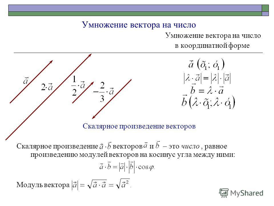 Умножение вектора на число в координатной форме Скалярное произведение векторов Скалярное произведение векторов и – это число, равное произведению модулей векторов на косинус угла между ними: Модуль вектора