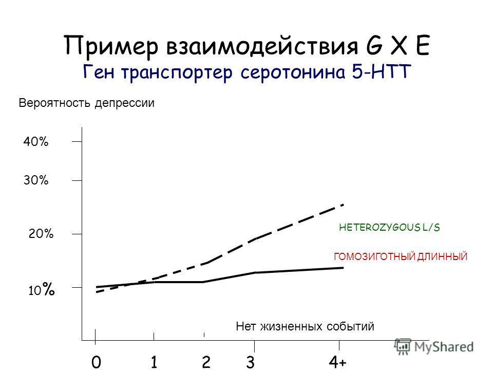 Пример взаимодействия G X E Ген транспортер серотонина 5-HTT Вероятность депрессии Нет жизненных событий 0 1 2 3 4+ 40% 30% 20% 10 % ГОМОЗИГОТНЫЙ ДЛИННЫЙ HETEROZYGOUS L/S