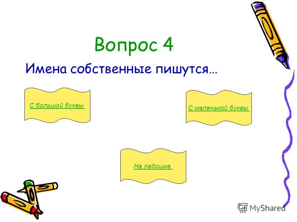 Вопрос 4 Имена собственные пишутся… С большой буквы На ладошке С маленькой буквы