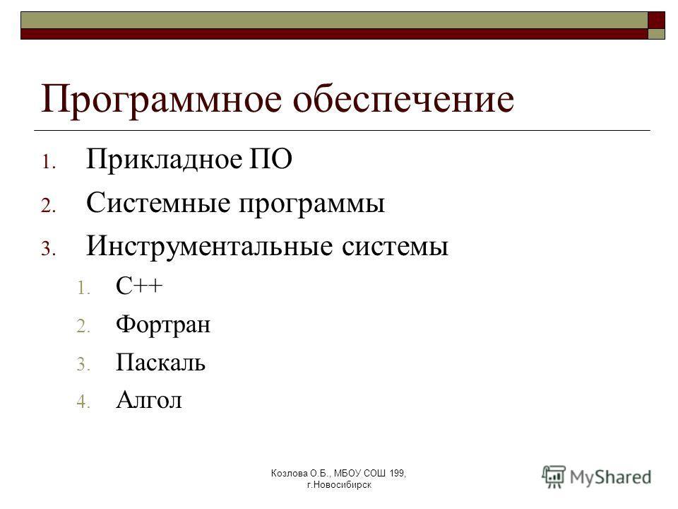 Козлова О.Б., МБОУ СОШ 199, г.Новосибирск Программное обеспечение 1. Прикладное ПО 2. Системные программы 3. Инструментальные системы 1. С++ 2. Фортран 3. Паскаль 4. Алгол