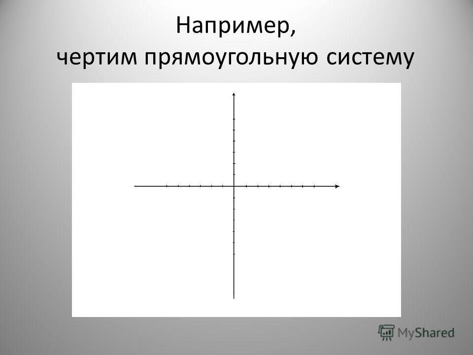 Например, чертим прямоугольную систему координат.