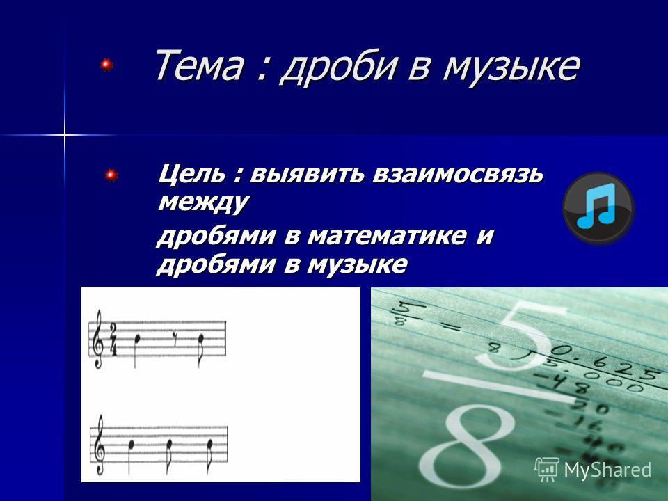 Тема : дроби в музыке Цель : выявить взаимосвязь между дробями в математике и дробями в музыке