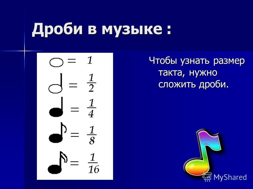 Дроби в музыке : Чтобы узнать размер такта, нужно сложить дроби.