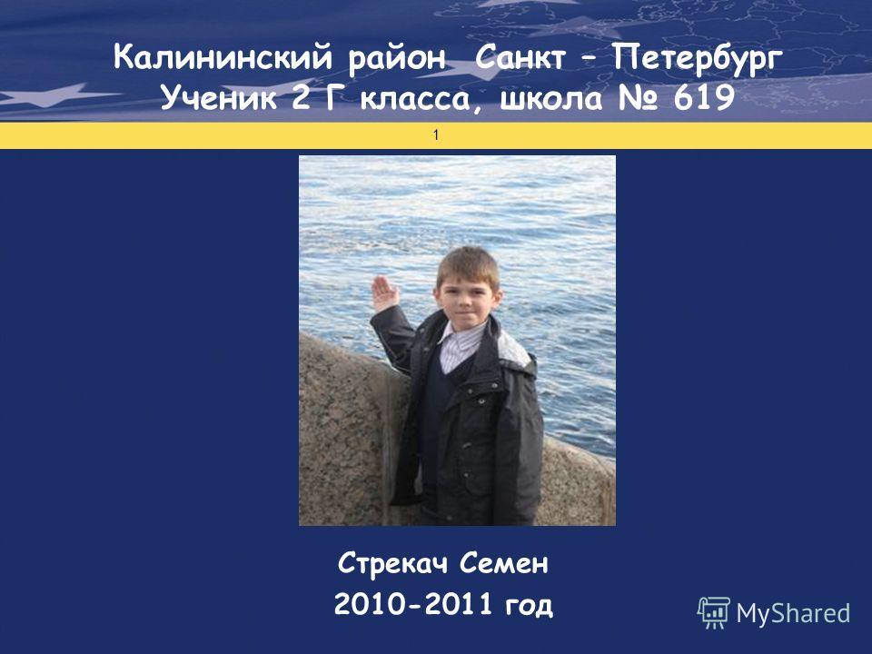 Проект финансируется Европейским Союзом 1 Стрекач Семен 2010-2011 год Калининский район Санкт – Петербург Ученик 2 Г класса, школа 619