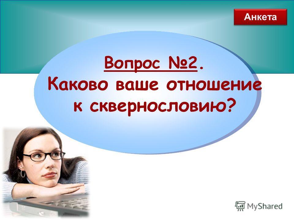www.themegallery.com Вопрос 2. Каково ваше отношение к сквернословию? Анкета
