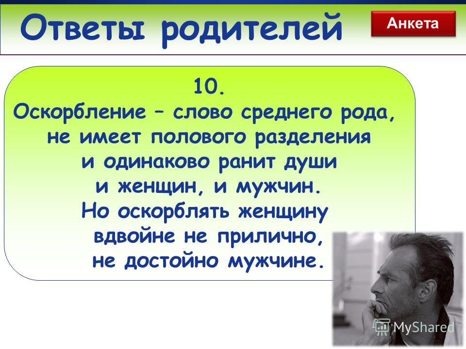 www.themegallery.com Ответы родителей 10. Оскорбление – слово среднего рода, не имеет полового разделения и одинаково ранит души и женщин, и мужчин. Но оскорблять женщину вдвойне не прилично, не достойно мужчине. Анкета