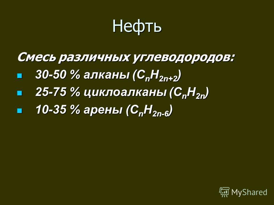 Нефть Смесь различных углеводородов: 30-50 % алканы (C n H 2n+2 ) 30-50 % алканы (C n H 2n+2 ) 25-75 % циклоалканы (C n H 2n ) 25-75 % циклоалканы (C n H 2n ) 10-35 % арены (C n H 2n-6 ) 10-35 % арены (C n H 2n-6 )