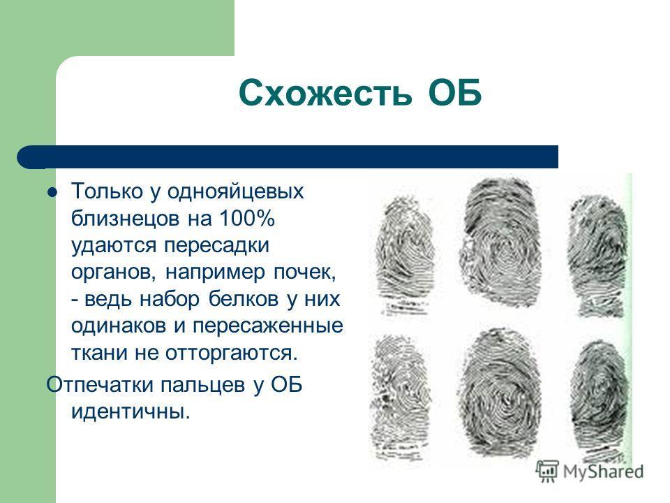 Схожесть ОБ Только у однояйцевых близнецов на 100% удаются пересадки органов, например почек, - ведь набор белков у них одинаков и пересаженные ткани не отторгаются. Отпечатки пальцев у ОБ идентичны.