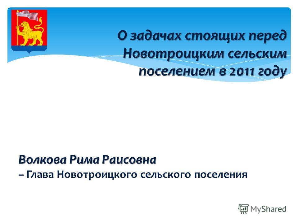 О задачах стоящих перед Новотроицким сельским поселением в 2011 году Волкова Рима Раисовна – – Глава Новотроицкого сельского поселения