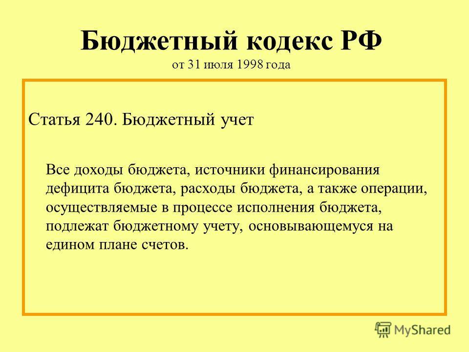 Бюджетный кодекс РФ от 31 июля 1998 года Статья 240. Бюджетный учет Все доходы бюджета, источники финансирования дефицита бюджета, расходы бюджета, а также операции, осуществляемые в процессе исполнения бюджета, подлежат бюджетному учету, основывающе