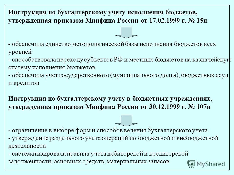 Инструкция по бухгалтерскому учету исполнения бюджетов, утвержденная приказом Минфина России от 17.02.1999 г. 15н - обеспечила единство методологической базы исполнения бюджетов всех уровней - способствовала переходу субъектов РФ и местных бюджетов н
