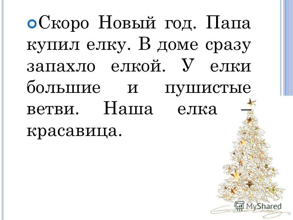 Скоро Новый год. Папа купил елку. В доме сразу запахло елкой. У елки большие и пушистые ветви. Наша елка – красавица.