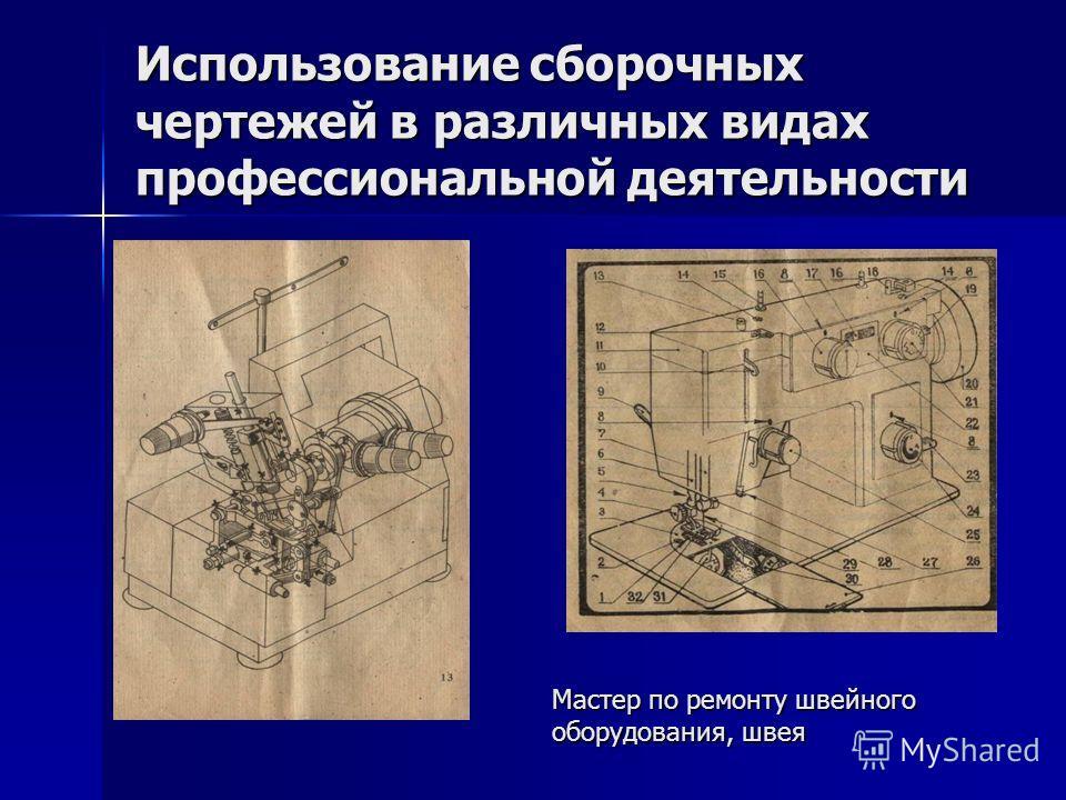 Использование сборочных чертежей в различных видах профессиональной деятельности Мастер по ремонту швейного оборудования, швея