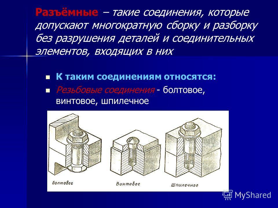 Разъёмные – такие соединения, которые допускают многократную сборку и разборку без разрушения деталей и соединительных элементов, входящих в них К таким соединениям относятся: Резьбовые соединения - болтовое, винтовое, шпилечное