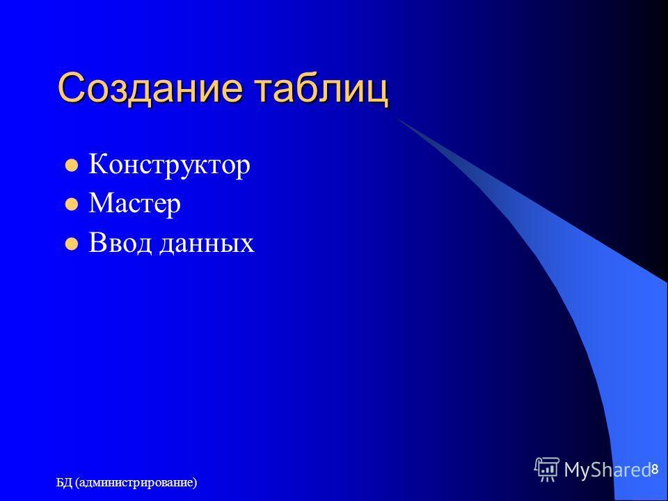 БД (администрирование) 8 Создание таблиц Конструктор Мастер Ввод данных
