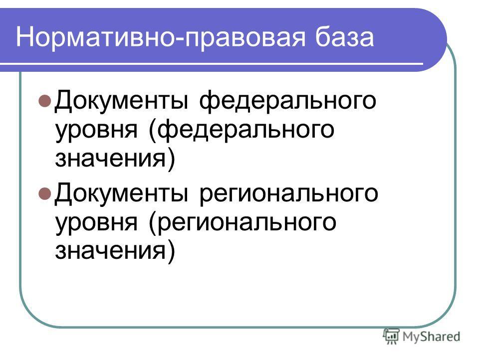 Нормативно-правовая база Документы федерального уровня (федерального значения) Документы регионального уровня (регионального значения)