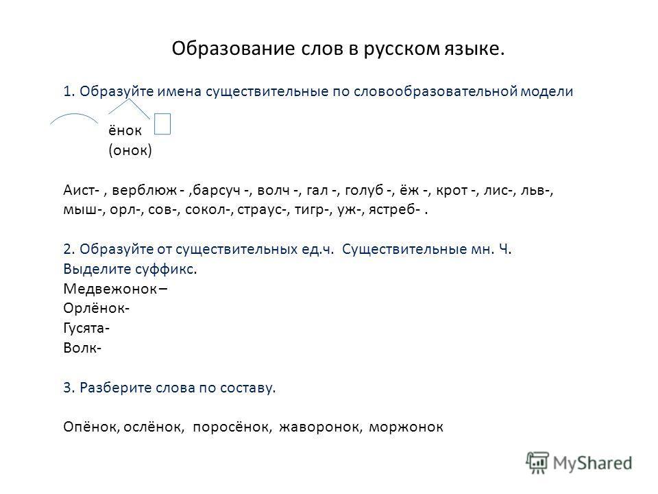 Образование слов в русском языке. 1. Образуйте имена существительные по словообразовательной модели ёнок (онок) Аист-, верблюж -,барсуч -, волч -, гал -, голуб -, ёж -, крот -, лис-, льв-, мыш-, орл-, сов-, сокол-, страус-, тигр-, уж-, ястреб-. 2. Об
