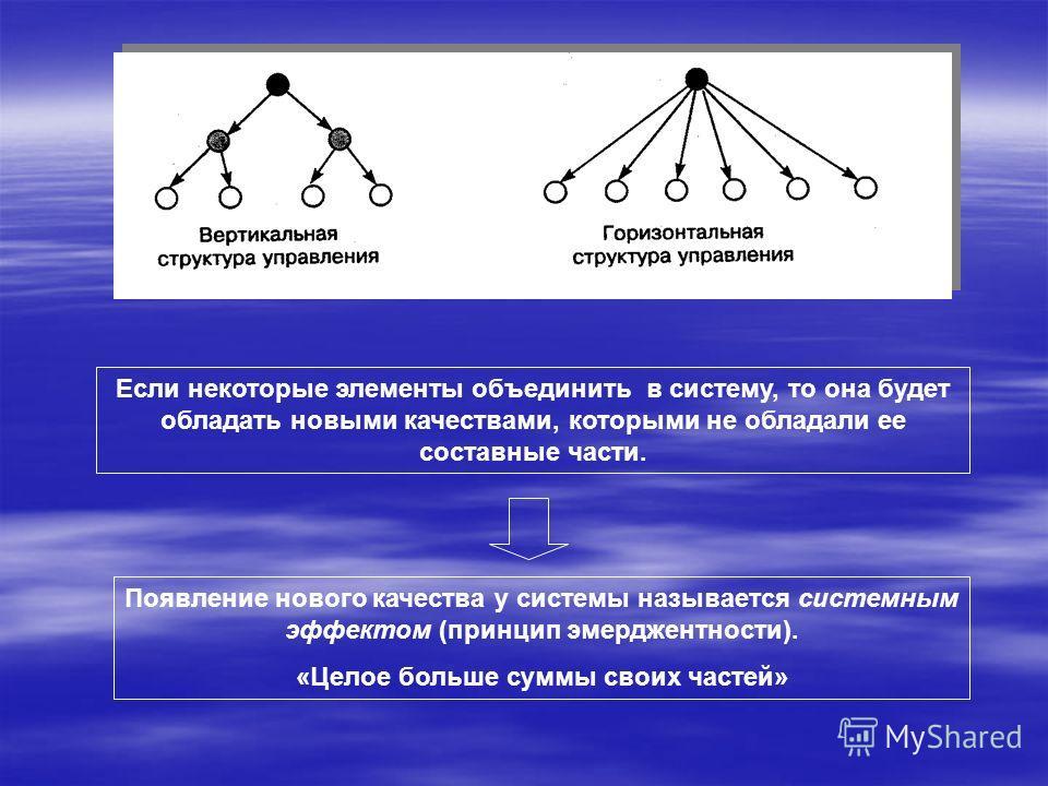 Если некоторые элементы объединить в систему, то она будет обладать новыми качествами, которыми не обладали ее составные части. Появление нового качества у системы называется системным эффектом (принцип эмерджентности). «Целое больше суммы своих част