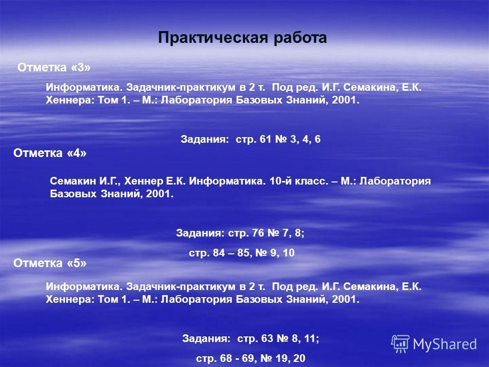 Практическая работа Информатика. Задачник-практикум в 2 т. Под ред. И.Г. Семакина, Е.К. Хеннера: Том 1. – М.: Лаборатория Базовых Знаний, 2001. Задания: стр. 61 3, 4, 6 Отметка «3» Отметка «4» Семакин И.Г., Хеннер Е.К. Информатика. 10-й класс. – М.: