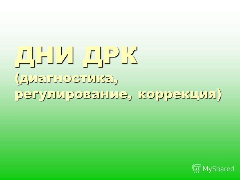 ДНИ ДРК (диагностика, регулирование, коррекция)