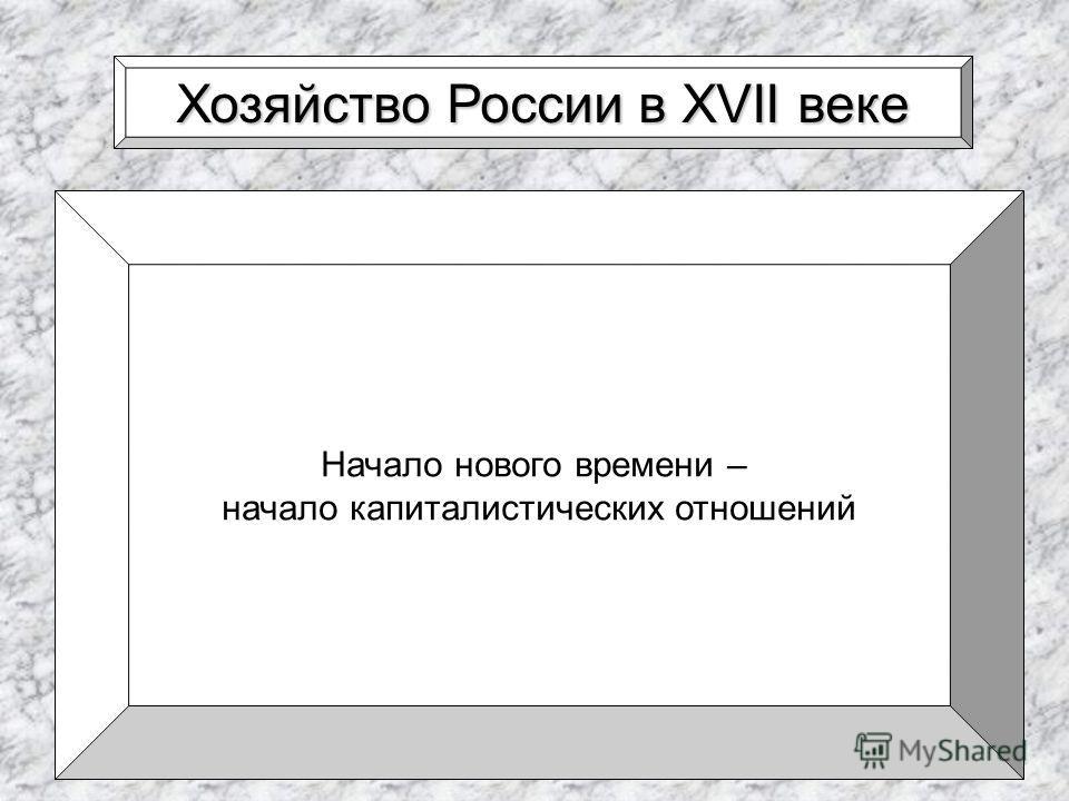 Хозяйство России в XVII веке Начало нового времени – начало капиталистических отношений