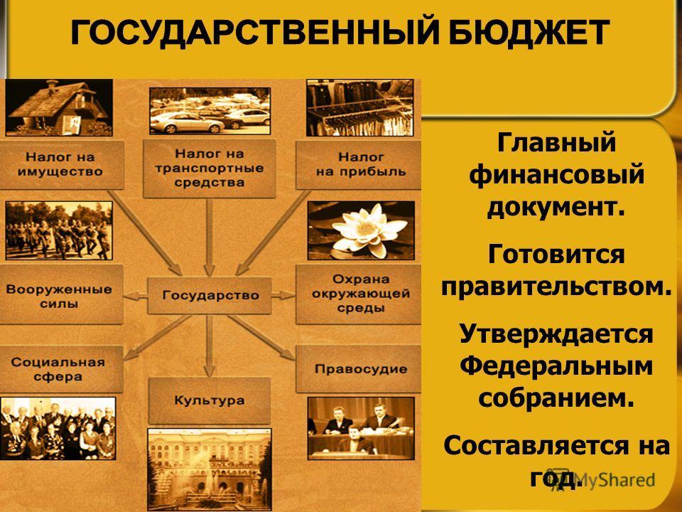 Главный финансовый документ. Готовится правительством. Утверждается Федеральным собранием. Составляется на год.