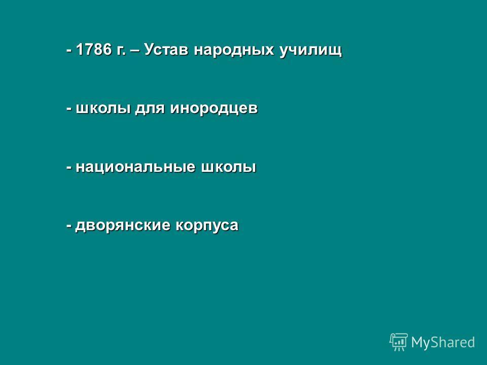 - 1786 г. – Устав народных училищ - школы для инородцев - национальные школы - дворянские корпуса