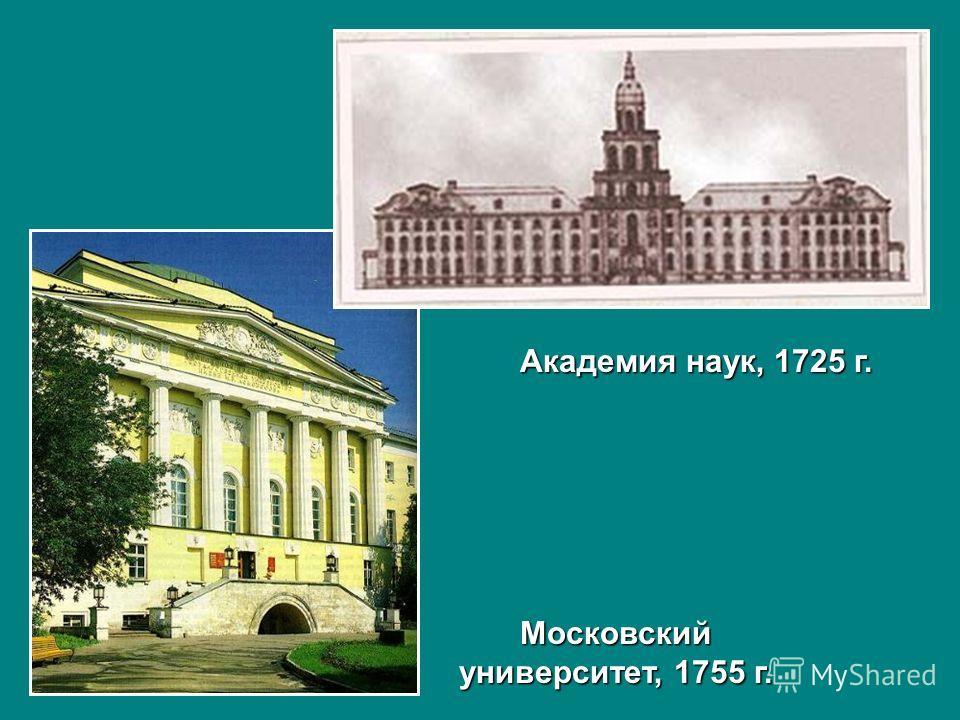 Академия наук, 1725 г. Московский университет, 1755 г.