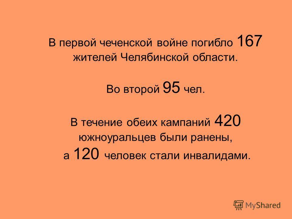 В первой чеченской войне погибло 167 жителей Челябинской области. Во второй 95 чел. В течение обеих кампаний 420 южноуральцев были ранены, а 120 человек стали инвалидами.